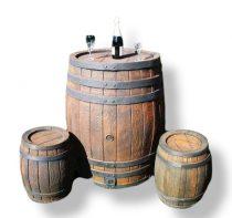 Esővízgyűjtő tartály víztartó 240 literes fahordó mintájú műanyag hordó ciszterna