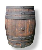 Esővízgyűjtő tartály víztartó 450 literes vízgyűjtő fahordó mintájú műanyag hordó ciszterna