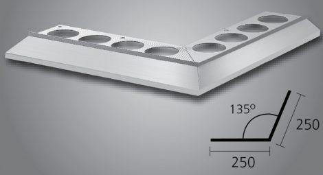 Maxi vízvető külső sarokprofil 135 fokos erkély balkon terasz 25x25 cm derékszög teraszprofil balkon