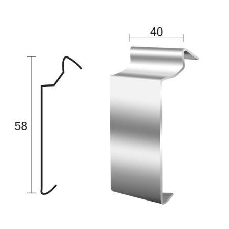 Priamy teraszszegély toldó vízvető profil erkély balkon terasz 40 mm lelógás teraszp
