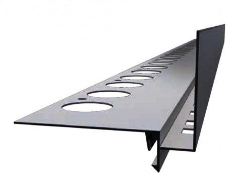 Priamy szürke teraszszegély vízvető profil erkély balkon terasz 40 mm lelógás 1 szál 2,5 m