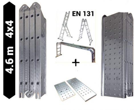 Multifunkciós csuklós létra 4,6 méter magas, platfrommal, 4 részes összehajtható, összecsukható, 4x4