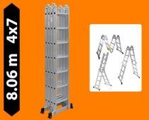 Többfunkciós csuklós létra 8,1 méter magas 4 részes összehajtható, összecsukható, 4x7 létrafok