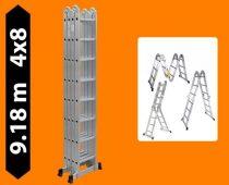Többfunkciós csuklós létra 9,2 méter magas 4 részes összehajtható, összecsukható, 4x8 létrafok